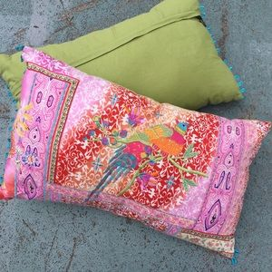 Pier one pink & green boho floral bird pillow set